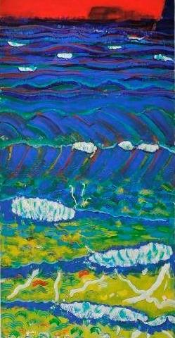朝陽 富士と波