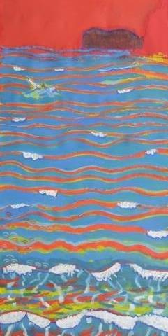 旭日富士と波 赤