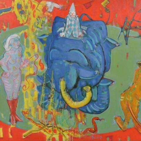 サーカス 炎と象と女