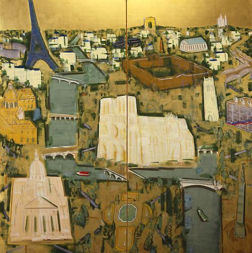 23) パリ風景(セーヌの流れ)Paris Landscape (The flow of the Seine) 1989年 金箔 157x159cm ST001-P029