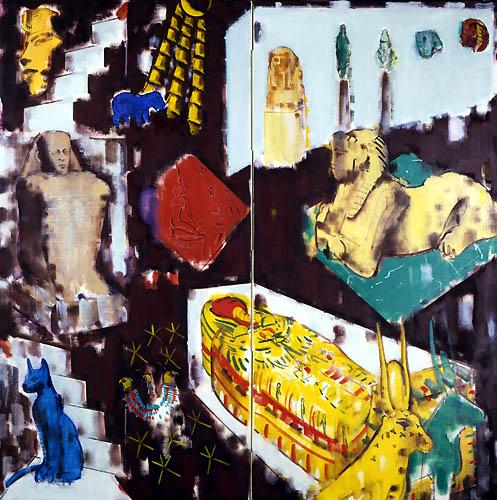27) エジプト・夢(ルクソール美術館)Egypt・Dream (Luxor Museum)1991年 二曲屏風 158x158cm ST001-P009