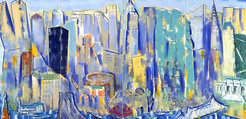 31) ニューヨーク遠望(風のしらべ)New York Distant View (Song of Wind)1992年 油彩 166.2x340cm ST001-P041