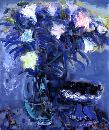 43) 花とベニス (Flower and Venice) 1997年 油彩 F20 ST001-P048
