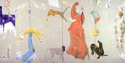18) サーカス (Circus) 1988年 日本画材四曲一叟  170x340cm ST001-P021