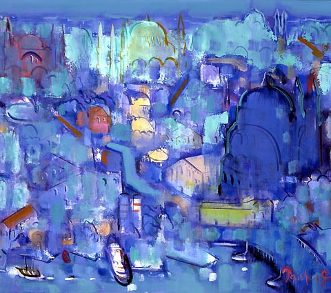 25) 蒼のイスタンブール (Blue Istanbul) 1990年 油彩 F20 ST001-P018