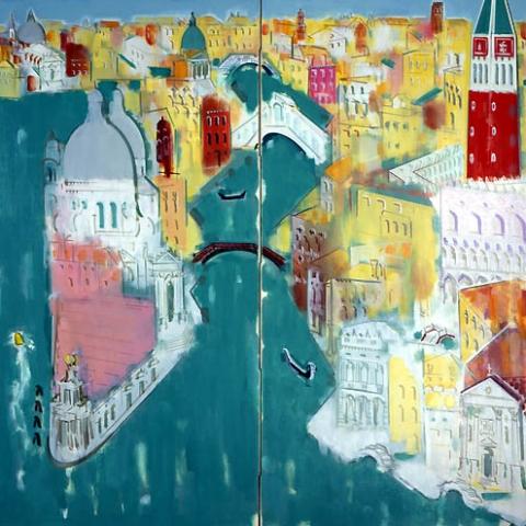 29) ヴェニス(大運河)Venice (Grand Canal) 1992年 二曲 158x158cm ST001-P008