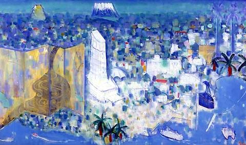 39) 青緑山水熱海富士図 (Blue-green Landscape Atami Fuji View)1996年 油彩 145.5x259.0cm ST001-P003