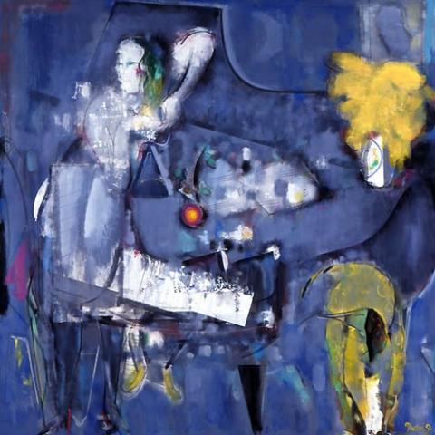 46)「ピアノと女」1999年 油絵 18x18cm ST001-P030