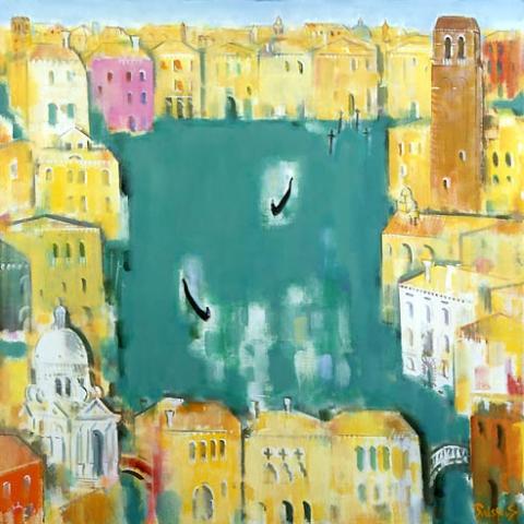 20) ベニス(緑の運河)Venice (Green Canal) 1989年 油彩 80.3x80.3cm ST001-P004