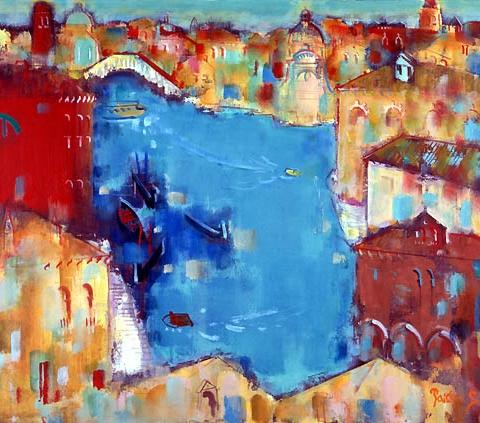 26) ベニス大運河 (Venice Grand Canal) 1990年 油彩 60x50cm ST001-P046