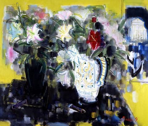 40) 花とベニス (Flower and Venice) 1996年 油彩 F40 ST001-P014