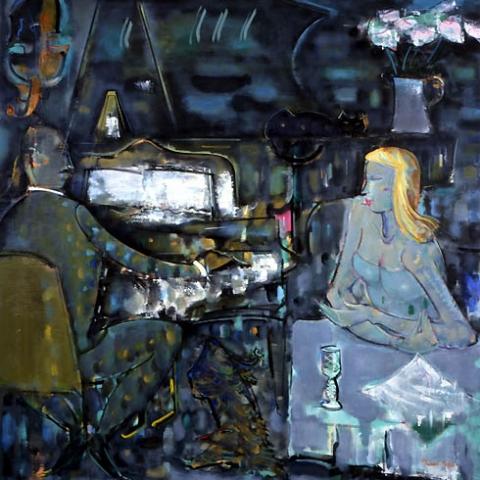 60) 夜の調べ (Song of Night) 2000年 油彩 130x130cm ST001-P019
