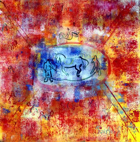 51)「サーカス曲馬」1999年 ガラス絵 18x18cm ST001-P059