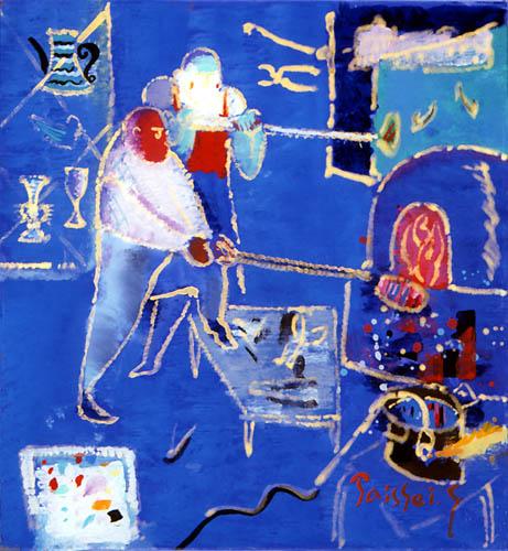 52)「ベニスのガラス工房」1999年 ガラス絵 20.1x19cm ST001-P060