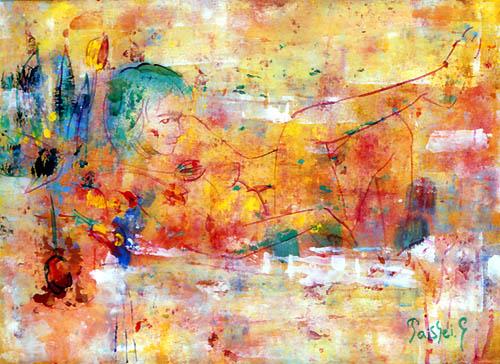 55)「浴槽の少女」1999年 ガラス絵 F4 ST001-P063