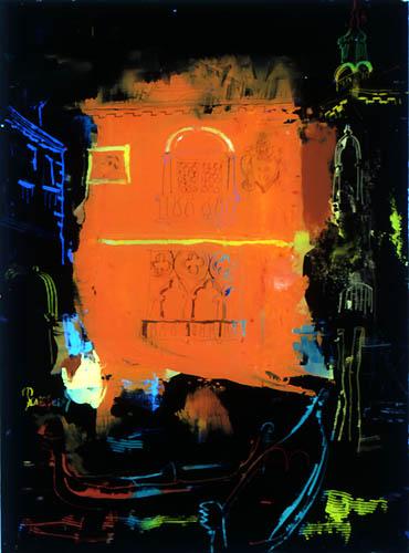 56)「夜のベニス」1999年 ガラス絵 24x17cm ST001-P064
