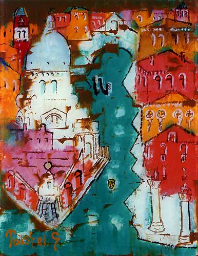 59)「ベニス大運河」1999年 ガラス絵 20.0x15.6cm ST001-P067