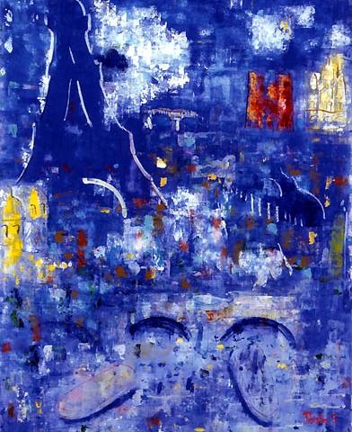 57)「エッフェルの月」1999年 ガラス絵 F40 ST001-P065
