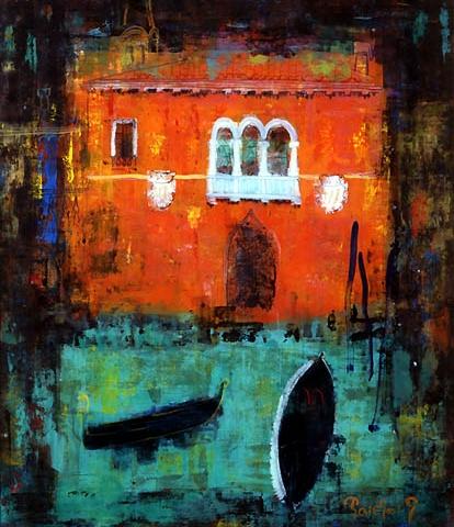 50)「夜のベニス」1999年 ガラス絵 F20 ST001-P058