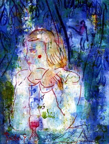 53)「マロニエの頃」1999年 ガラス絵 23.1x17.1cm ST001-P061