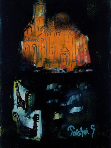 58)「夜のベニス」1999年 ガラス絵 17.7x13cm ST001-P066