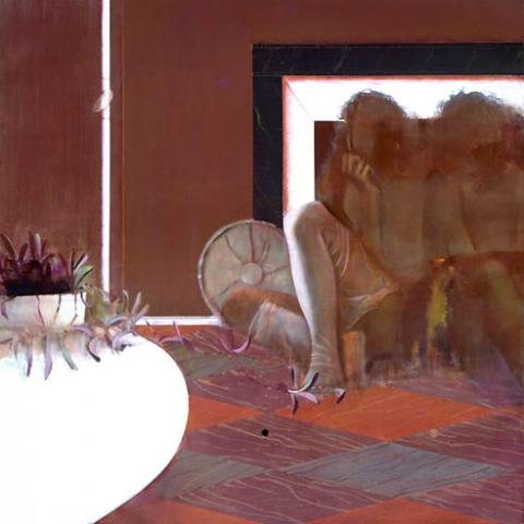 1) 室内二人 (Two of us in a room) 1976年 油彩 S50 ST001-P022