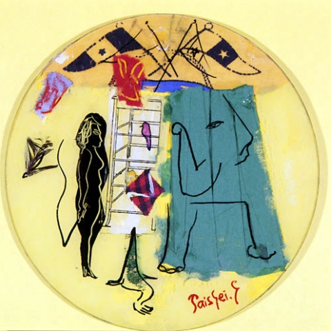 54)「サーカス」1999年 ガラス絵 直径20cm ST001-P062